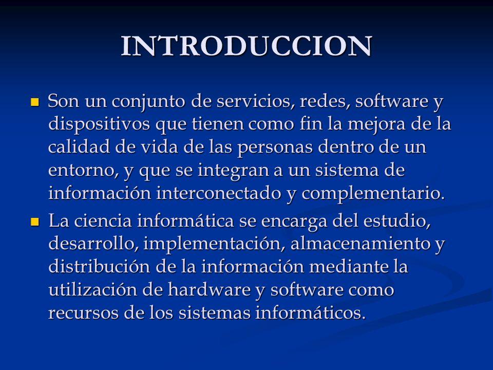 INTRODUCCION Son un conjunto de servicios, redes, software y dispositivos que tienen como fin la mejora de la calidad de vida de las personas dentro d