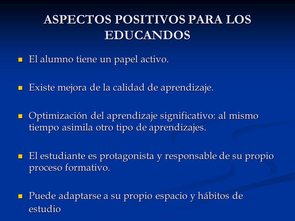 ASPECTOS POSITIVOS PARA LOS EDUCANDOS El alumno tiene un papel activo. El alumno tiene un papel activo. Existe mejora de la calidad de aprendizaje. Ex