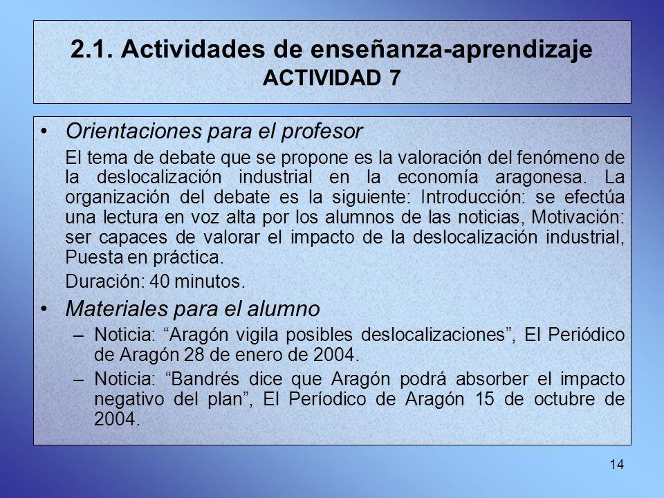 14 2.1. Actividades de enseñanza-aprendizaje ACTIVIDAD 7 Orientaciones para el profesor El tema de debate que se propone es la valoración del fenómeno