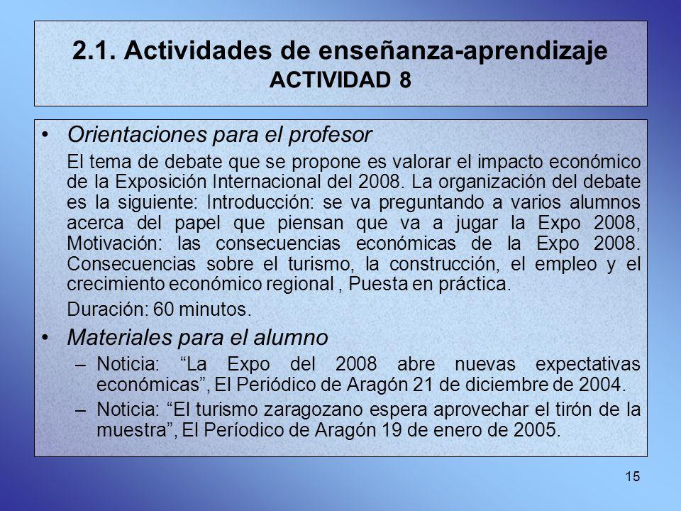15 2.1. Actividades de enseñanza-aprendizaje ACTIVIDAD 8 Orientaciones para el profesor El tema de debate que se propone es valorar el impacto económi