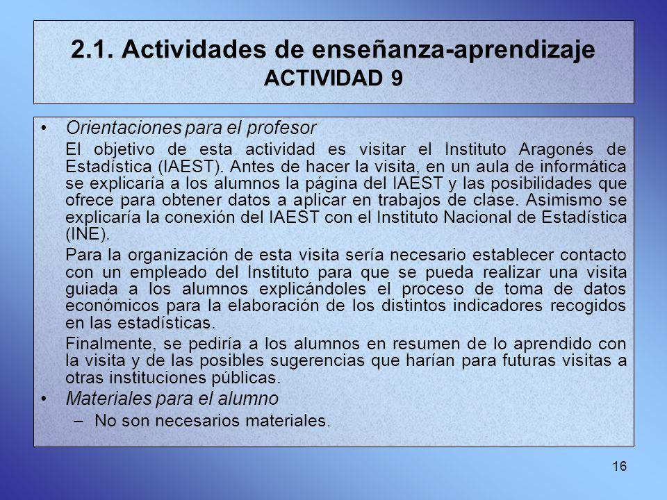 16 2.1. Actividades de enseñanza-aprendizaje ACTIVIDAD 9 Orientaciones para el profesor El objetivo de esta actividad es visitar el Instituto Aragonés