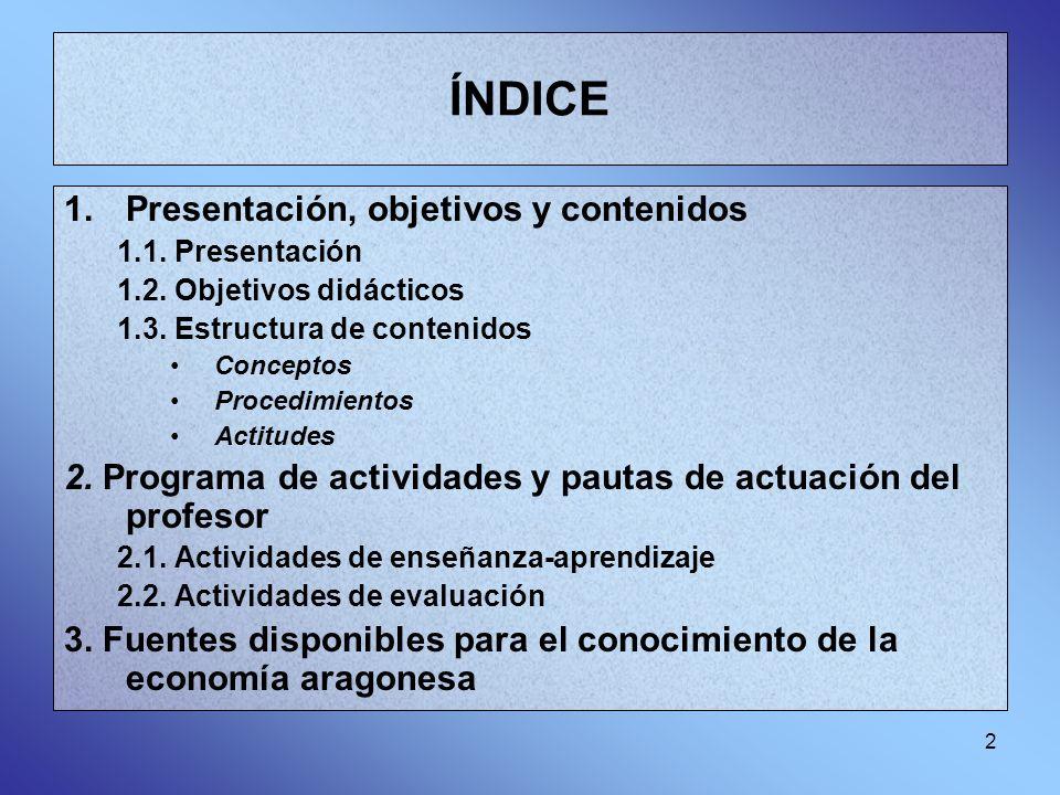 2 ÍNDICE 1.Presentación, objetivos y contenidos 1.1. Presentación 1.2. Objetivos didácticos 1.3. Estructura de contenidos Conceptos Procedimientos Act