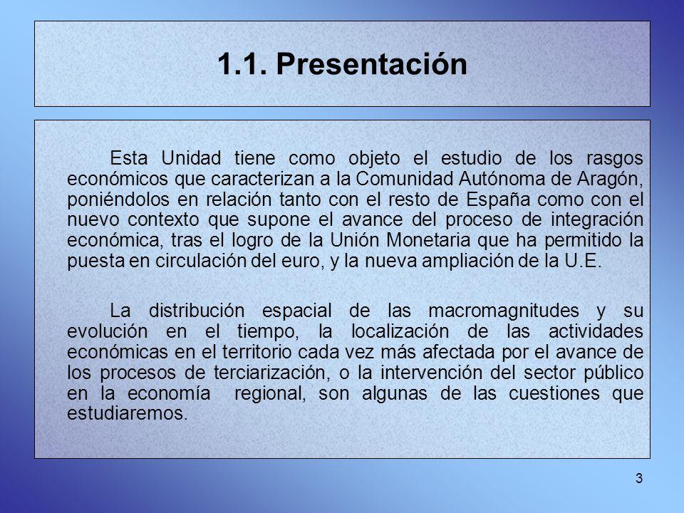 3 1.1. Presentación Esta Unidad tiene como objeto el estudio de los rasgos económicos que caracterizan a la Comunidad Autónoma de Aragón, poniéndolos