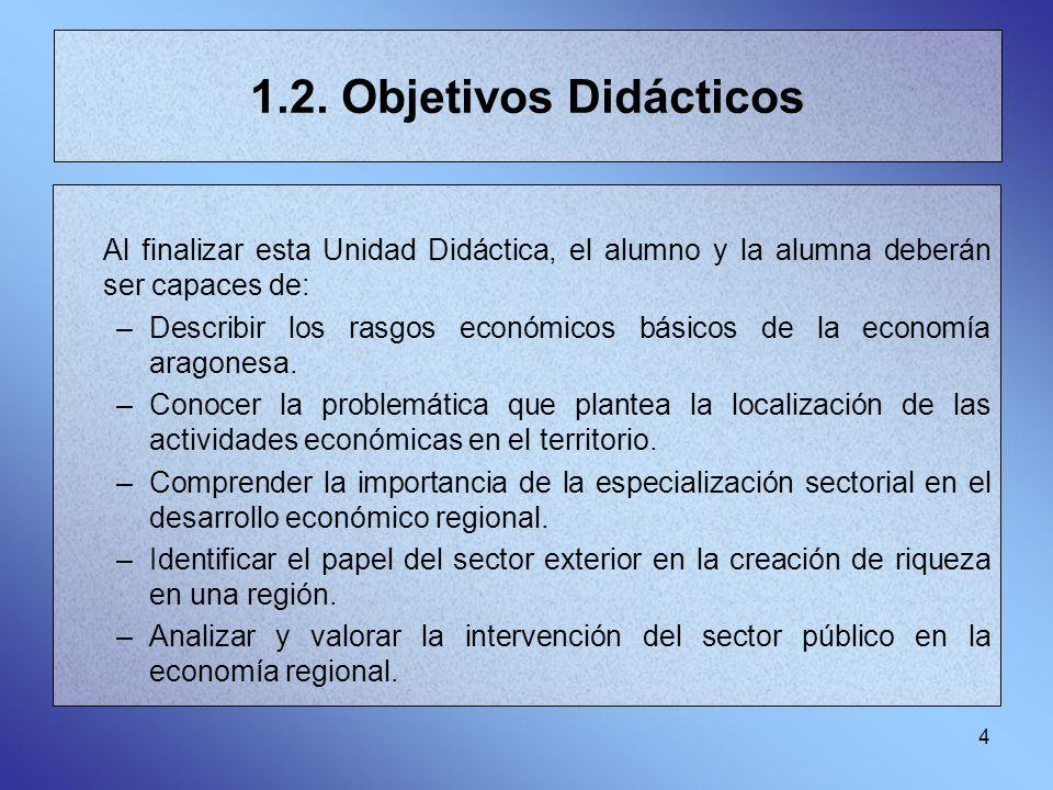 4 1.2. Objetivos Didácticos Al finalizar esta Unidad Didáctica, el alumno y la alumna deberán ser capaces de: –Describir los rasgos económicos básicos