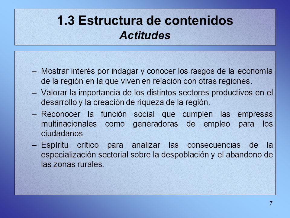 7 1.3 Estructura de contenidos Actitudes –Mostrar interés por indagar y conocer los rasgos de la economía de la región en la que viven en relación con