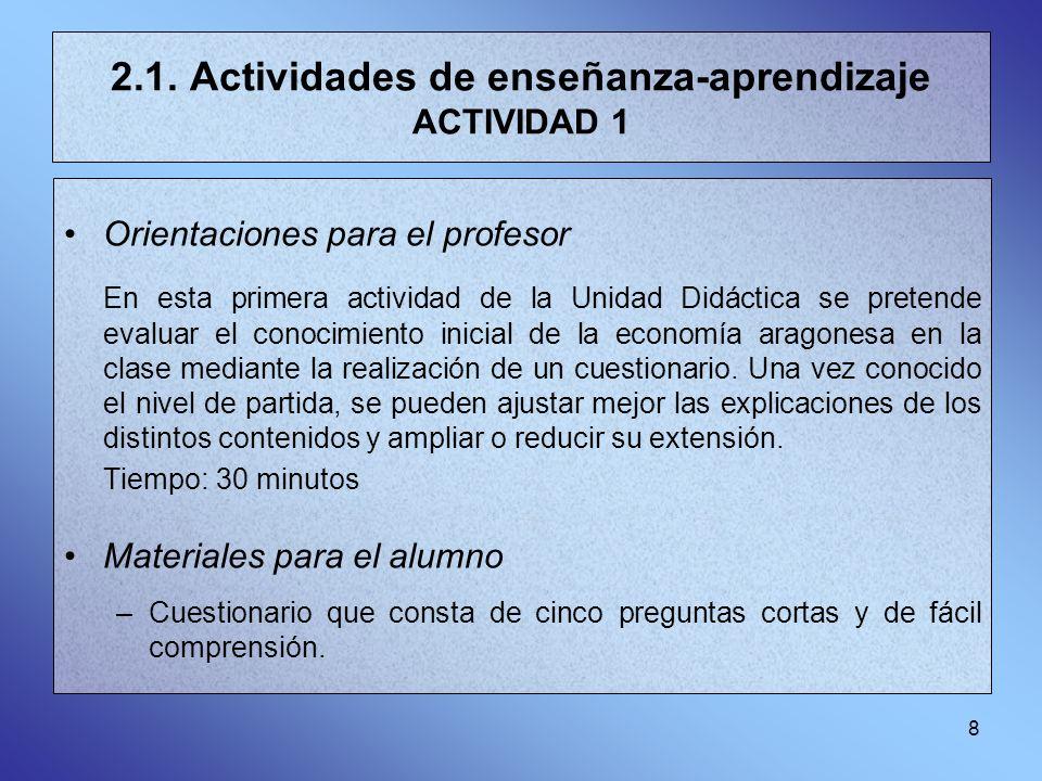 8 2.1. Actividades de enseñanza-aprendizaje ACTIVIDAD 1 Orientaciones para el profesor En esta primera actividad de la Unidad Didáctica se pretende ev