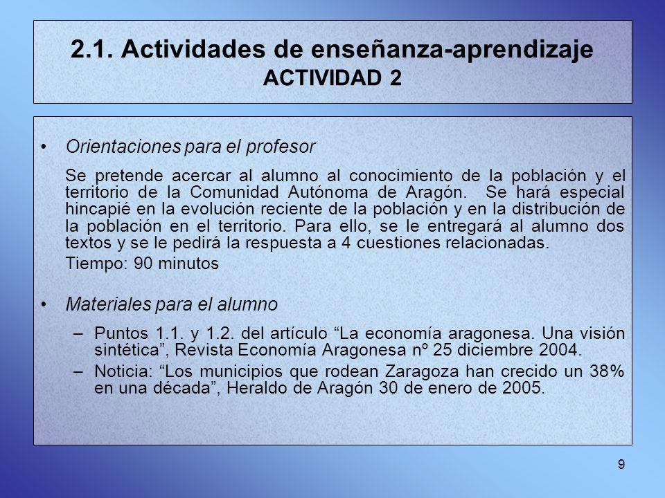 9 2.1. Actividades de enseñanza-aprendizaje ACTIVIDAD 2 Orientaciones para el profesor Se pretende acercar al alumno al conocimiento de la población y