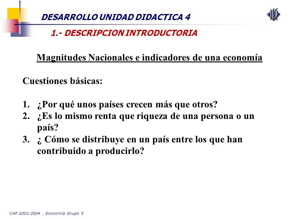 CAP 2003-2004. Economía Grupo 5 DESARROLLO UNIDAD DIDACTICA 4 1.- DESCRIPCION INTRODUCTORIA Magnitudes Nacionales e indicadores de una economía Cuesti