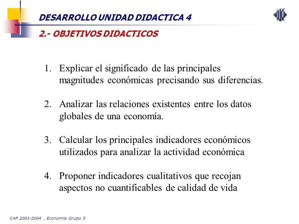 CAP 2003-2004. Economía Grupo 5 DESARROLLO UNIDAD DIDACTICA 4 2.- OBJETIVOS DIDACTICOS 1.Explicar el significado de las principales magnitudes económi
