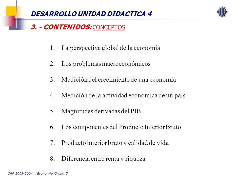 CAP 2003-2004. Economía Grupo 5 DESARROLLO UNIDAD DIDACTICA 4 3. - CONTENIDOS: CONCEPTOS 1.La perspectiva global de la economía 2.Los problemas macroe