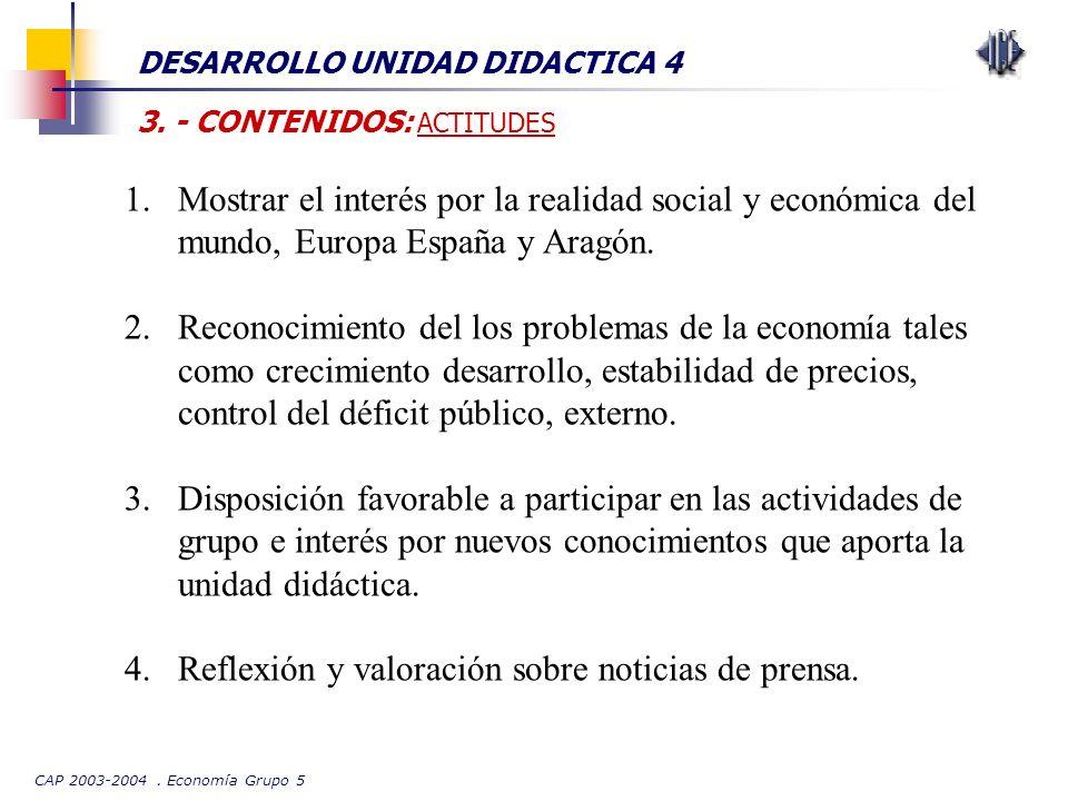 CAP 2003-2004. Economía Grupo 5 DESARROLLO UNIDAD DIDACTICA 4 3. - CONTENIDOS: ACTITUDES 1.Mostrar el interés por la realidad social y económica del m