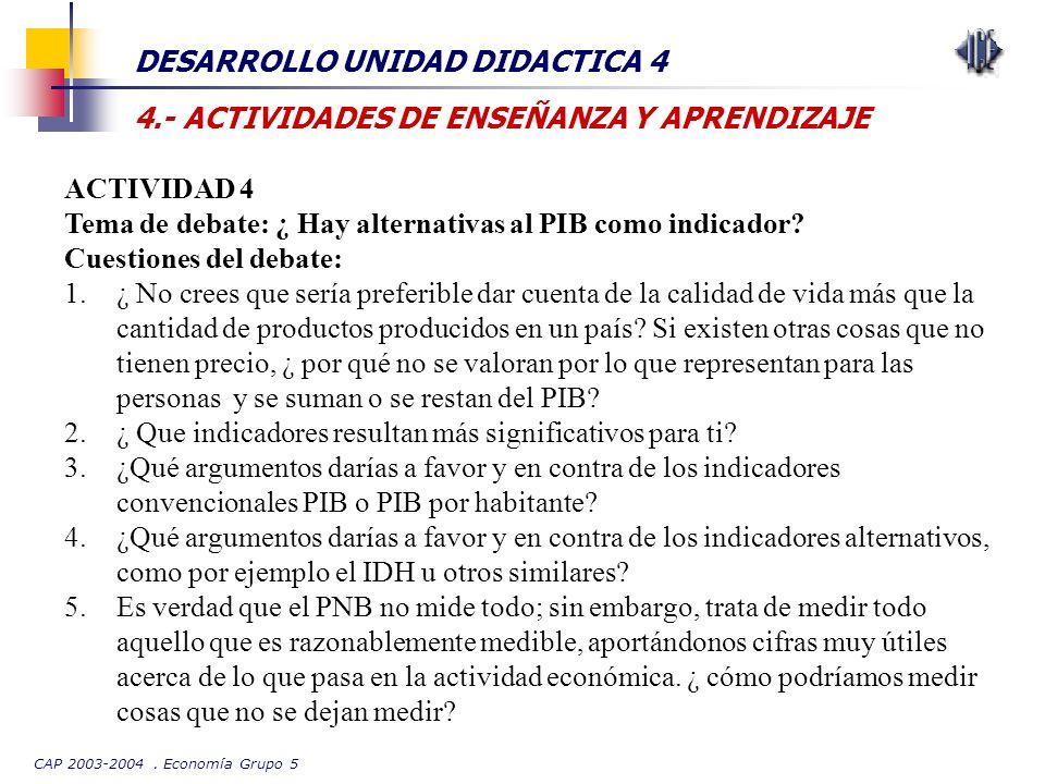 CAP 2003-2004. Economía Grupo 5 DESARROLLO UNIDAD DIDACTICA 4 4.- ACTIVIDADES DE ENSEÑANZA Y APRENDIZAJE ACTIVIDAD 4 Tema de debate: ¿ Hay alternativa