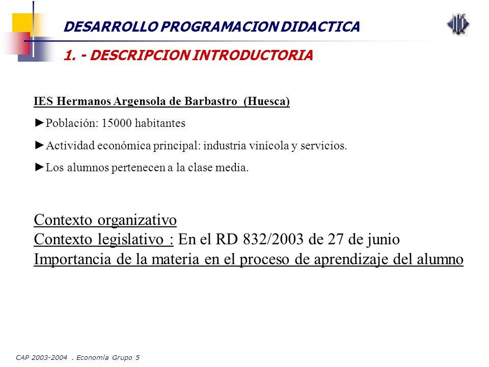 CAP 2003-2004. Economía Grupo 5 DESARROLLO PROGRAMACION DIDACTICA 1. - DESCRIPCION INTRODUCTORIA IES Hermanos Argensola de Barbastro (Huesca) Població