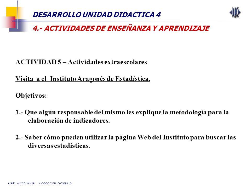 CAP 2003-2004. Economía Grupo 5 DESARROLLO UNIDAD DIDACTICA 4 4.- ACTIVIDADES DE ENSEÑANZA Y APRENDIZAJE ACTIVIDAD 5 – Actividades extraescolares Visi