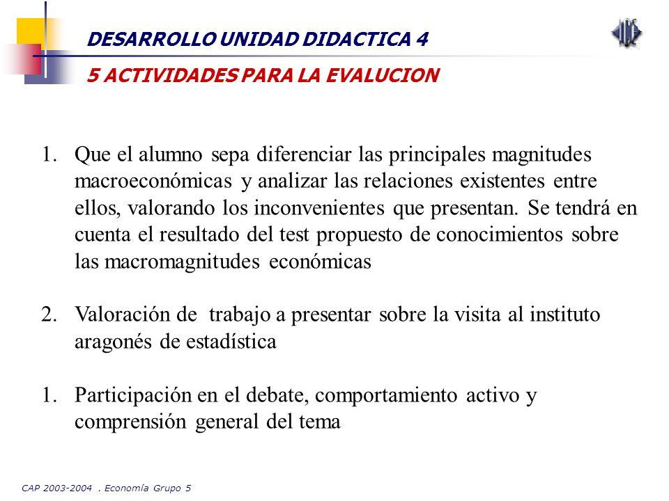 CAP 2003-2004. Economía Grupo 5 DESARROLLO UNIDAD DIDACTICA 4 5 ACTIVIDADES PARA LA EVALUCION 1.Que el alumno sepa diferenciar las principales magnitu