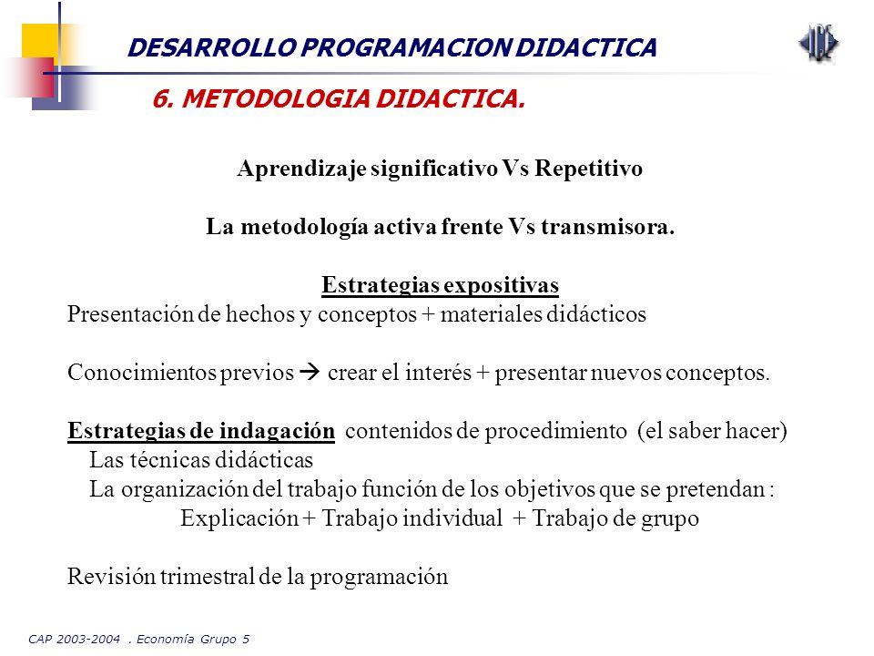 CAP 2003-2004. Economía Grupo 5 DESARROLLO PROGRAMACION DIDACTICA 6. METODOLOGIA DIDACTICA. Aprendizaje significativo Vs Repetitivo La metodología act