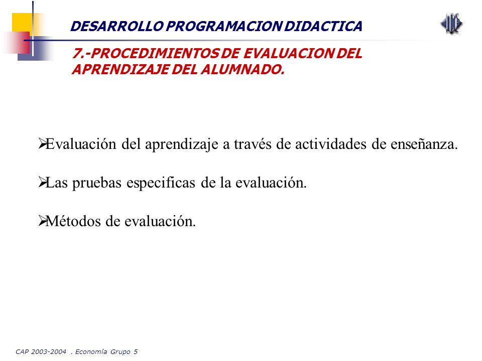 CAP 2003-2004. Economía Grupo 5 DESARROLLO PROGRAMACION DIDACTICA 7.-PROCEDIMIENTOS DE EVALUACION DEL APRENDIZAJE DEL ALUMNADO. Evaluación del aprendi