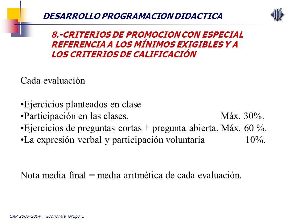 CAP 2003-2004. Economía Grupo 5 DESARROLLO PROGRAMACION DIDACTICA 8.-CRITERIOS DE PROMOCION CON ESPECIAL REFERENCIA A LOS MÍNIMOS EXIGIBLES Y A LOS CR