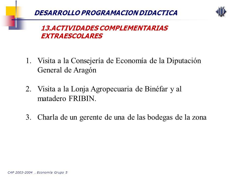 CAP 2003-2004. Economía Grupo 5 DESARROLLO PROGRAMACION DIDACTICA 13.ACTIVIDADES COMPLEMENTARIAS EXTRAESCOLARES 1.Visita a la Consejería de Economía d