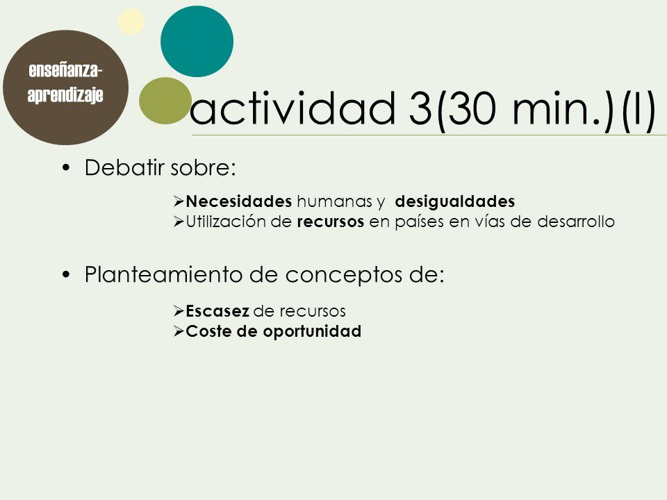 Debatir sobre: Planteamiento de conceptos de: enseñanza- aprendizaje actividad 3(30 min.)(I) Necesidades humanas y desigualdades Utilización de recurs