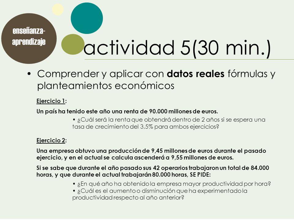 enseñanza- aprendizaje actividad 5(30 min.) Comprender y aplicar con datos reales fórmulas y planteamientos económicos Ejercicio 1: Un país ha tenido