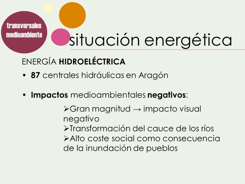 ENERGÍA HIDROELÉCTRICA transversales medioambiente Gran magnitud impacto visual negativo Transformación del cauce de los ríos Alto coste social como c