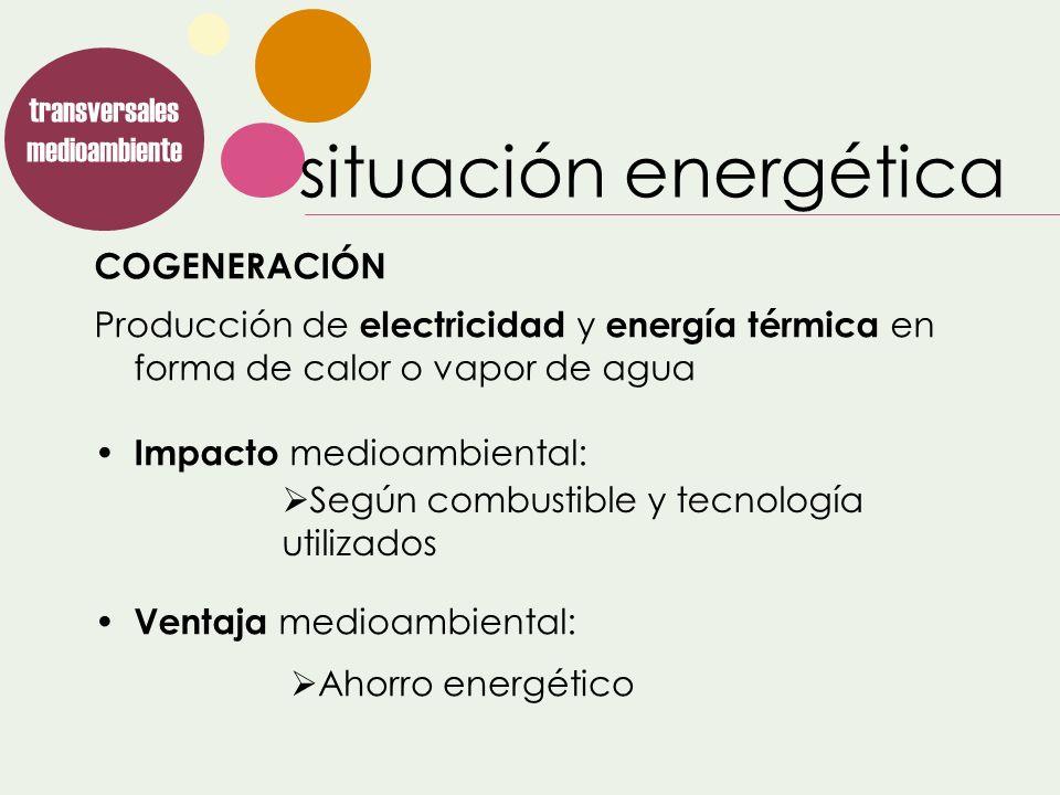 COGENERACIÓN transversales medioambiente Según combustible y tecnología utilizados Producción de electricidad y energía térmica en forma de calor o va