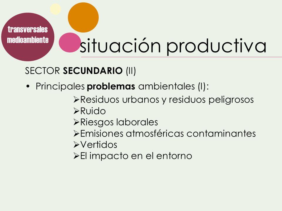 SECTOR SECUNDARIO (II) transversales medioambiente Principales problemas ambientales (I): Residuos urbanos y residuos peligrosos Ruido Riesgos laboral