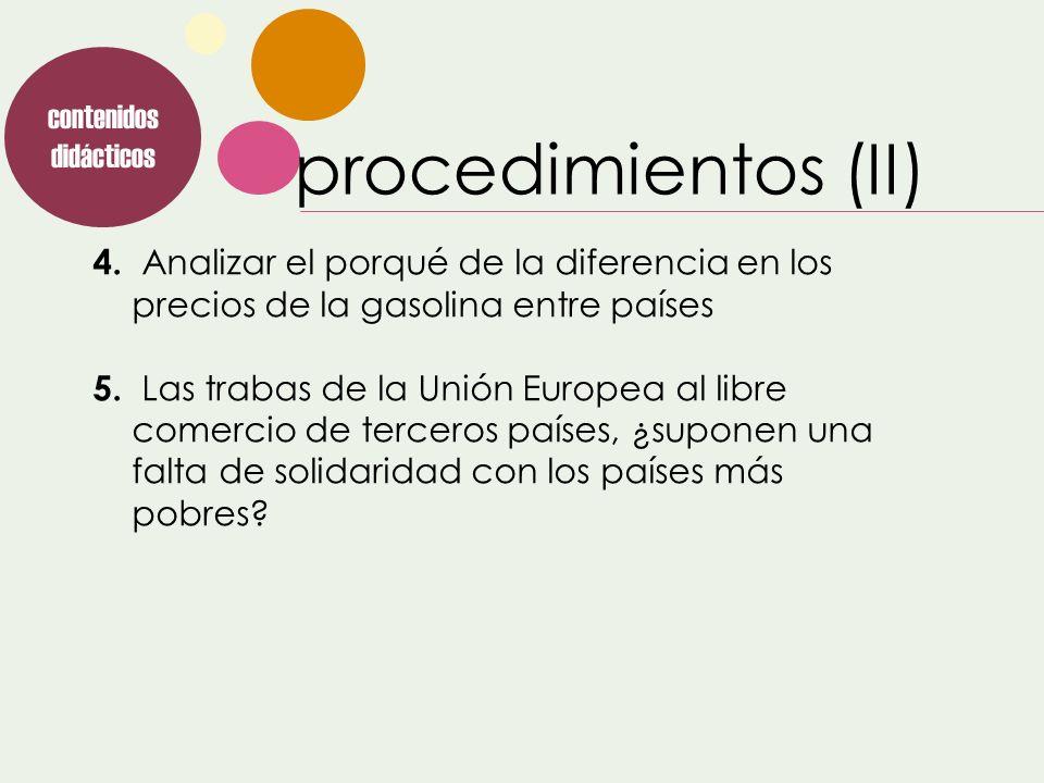 procedimientos (II) contenidos didácticos 4. Analizar el porqué de la diferencia en los precios de la gasolina entre países 5. Las trabas de la Unión