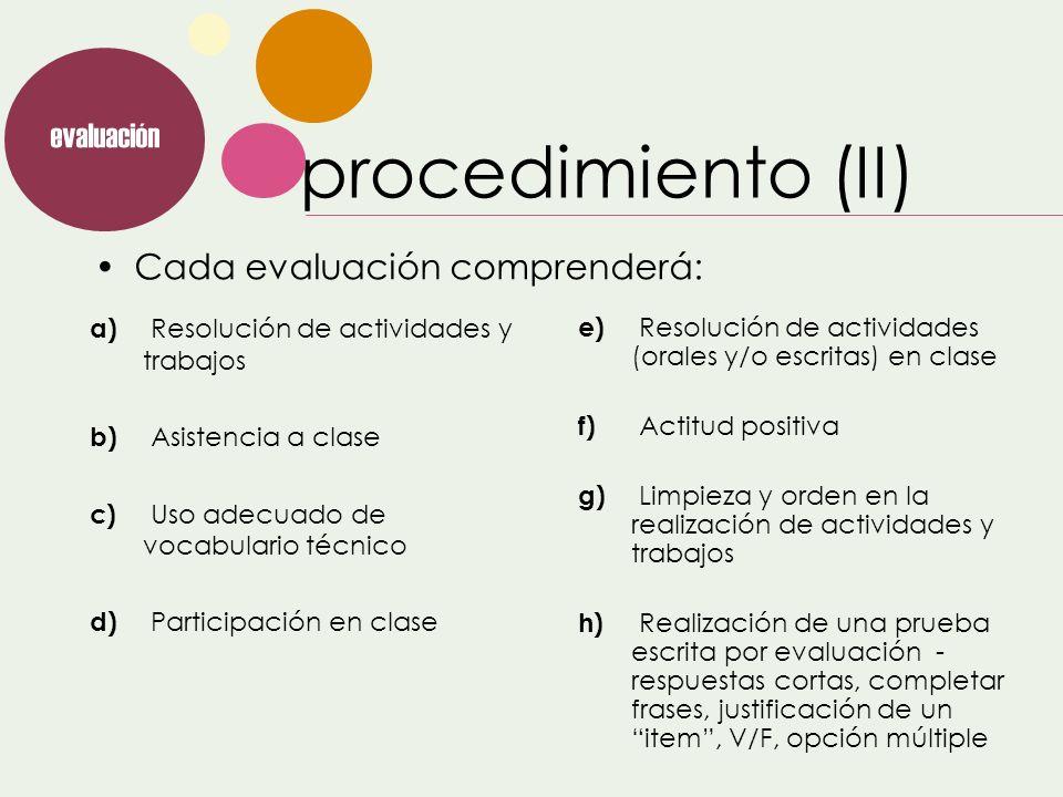 procedimiento (II) evaluación Cada evaluación comprenderá: e) Resolución de actividades (orales y/o escritas) en clase f) Actitud positiva g) Limpieza