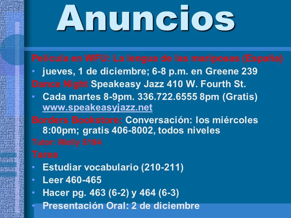 Anuncios Película en WFU: La lengua de las mariposas (España) jueves, 1 de diciembre; 6-8 p.m. en Greene 239 Dance Night Speakeasy Jazz 410 W. Fourth