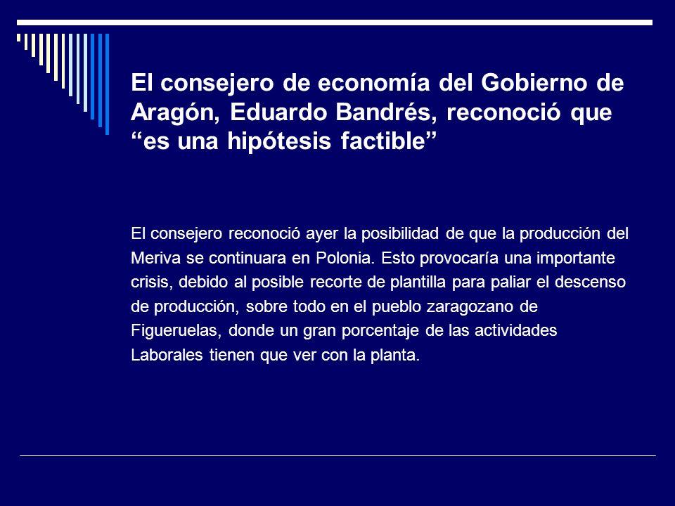 El consejero de economía del Gobierno de Aragón, Eduardo Bandrés, reconoció que es una hipótesis factible El consejero reconoció ayer la posibilidad de que la producción del Meriva se continuara en Polonia.