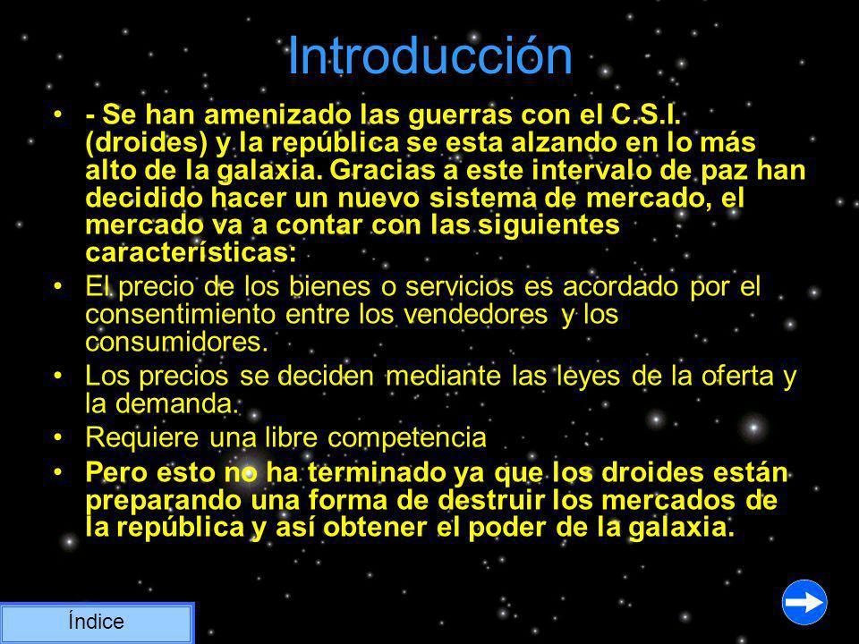 Introducción - Se han amenizado las guerras con el C.S.I. (droides) y la república se esta alzando en lo más alto de la galaxia. Gracias a este interv