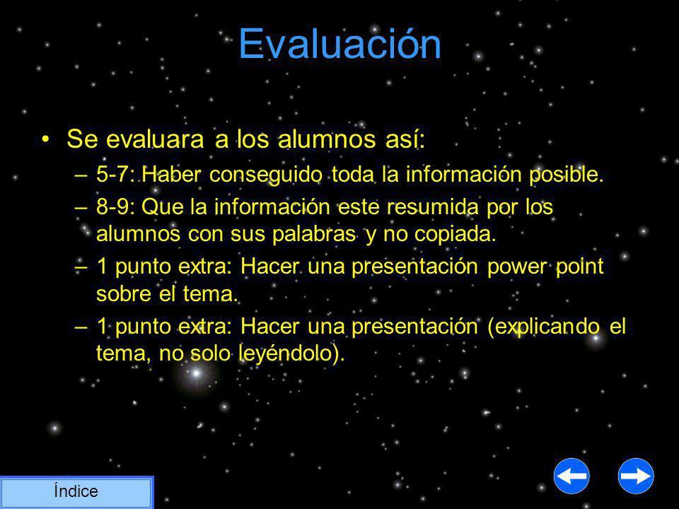 Evaluación Índice Se evaluara a los alumnos así: –5-7: Haber conseguido toda la información posible. –8-9: Que la información este resumida por los al