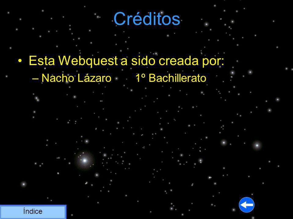 Créditos Índice Esta Webquest a sido creada por: –Nacho Lázaro 1º Bachillerato
