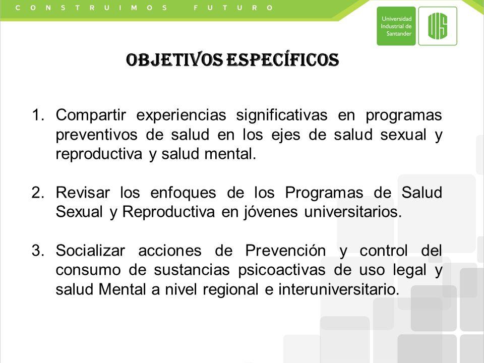 1.Compartir experiencias significativas en programas preventivos de salud en los ejes de salud sexual y reproductiva y salud mental.