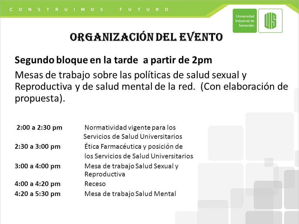 Segundo bloque en la tarde a partir de 2pm Mesas de trabajo sobre las políticas de salud sexual y Reproductiva y de salud mental de la red.