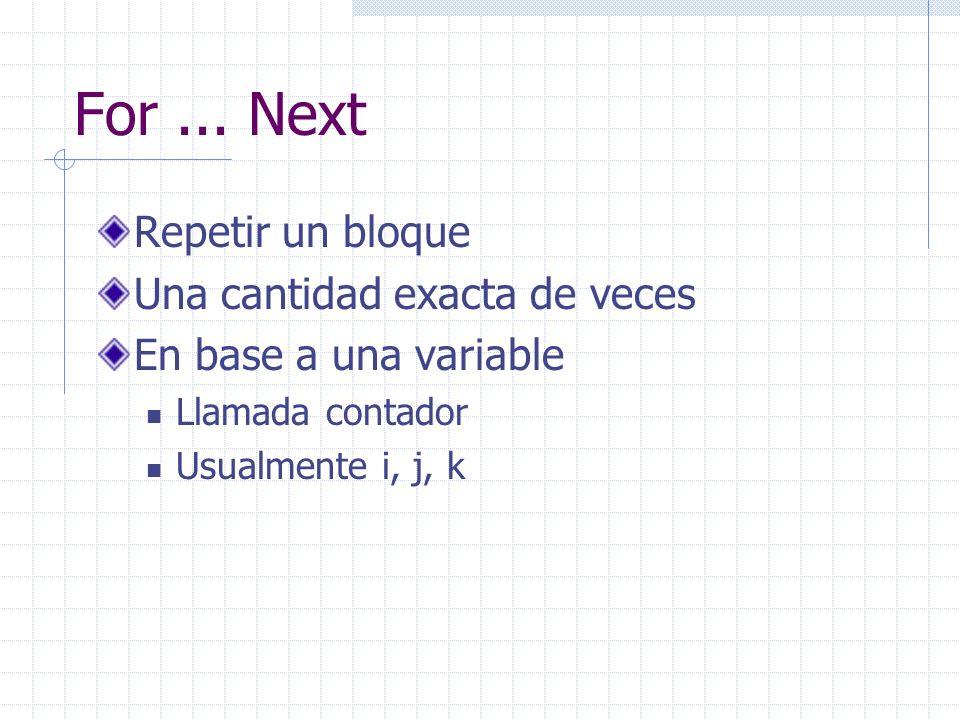 Repetir un bloque Una cantidad exacta de veces En base a una variable Llamada contador Usualmente i, j, k