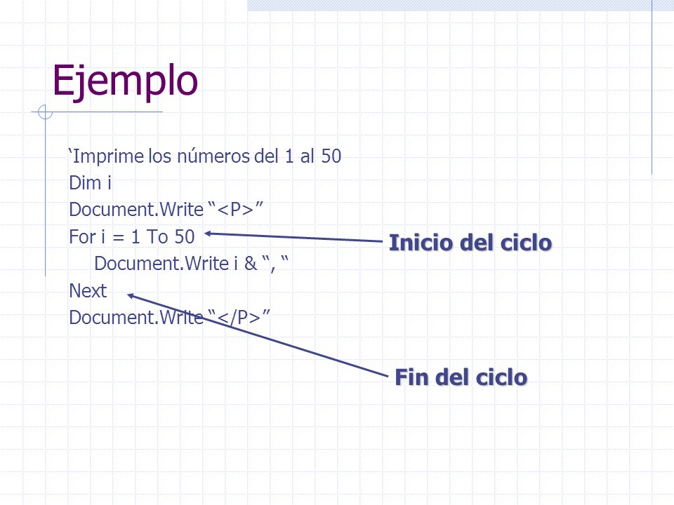 Ejemplo Imprime los números del 1 al 50 Dim i Document.Write For i = 1 To 50 Document.Write i &, Next Document.Write Inicio del ciclo Fin del ciclo