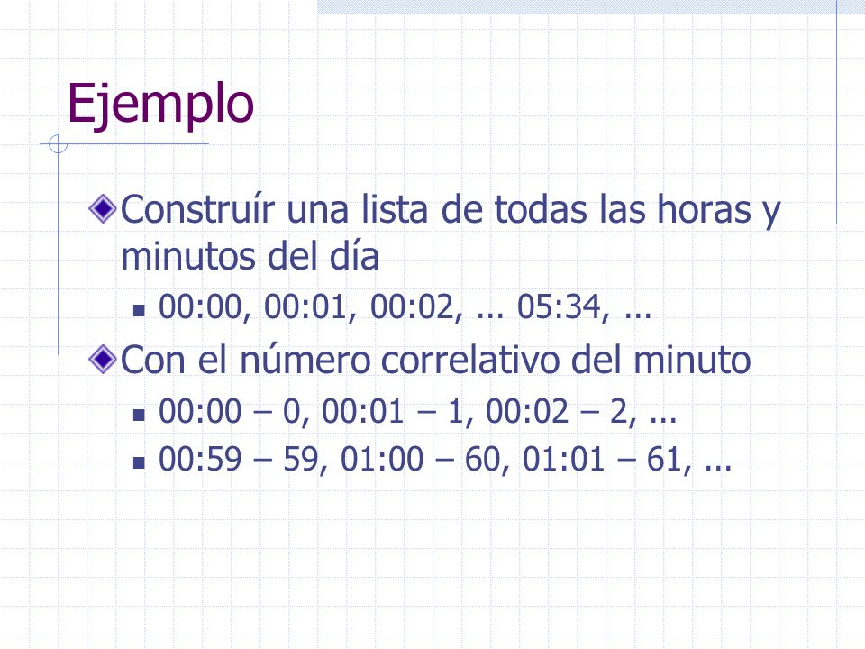 Ejemplo Construír una lista de todas las horas y minutos del día 00:00, 00:01, 00:02,...