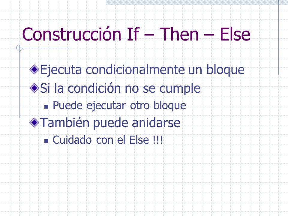 Construcción If – Then – Else Ejecuta condicionalmente un bloque Si la condición no se cumple Puede ejecutar otro bloque También puede anidarse Cuidado con el Else !!!