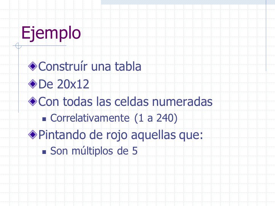 Ejemplo Construír una tabla De 20x12 Con todas las celdas numeradas Correlativamente (1 a 240) Pintando de rojo aquellas que: Son múltiplos de 5