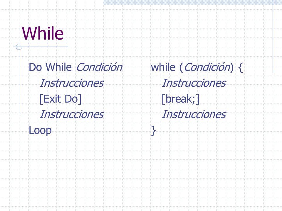 While Do While Condición Instrucciones [Exit Do] Instrucciones Loop while (Condición) { Instrucciones [break;] Instrucciones }