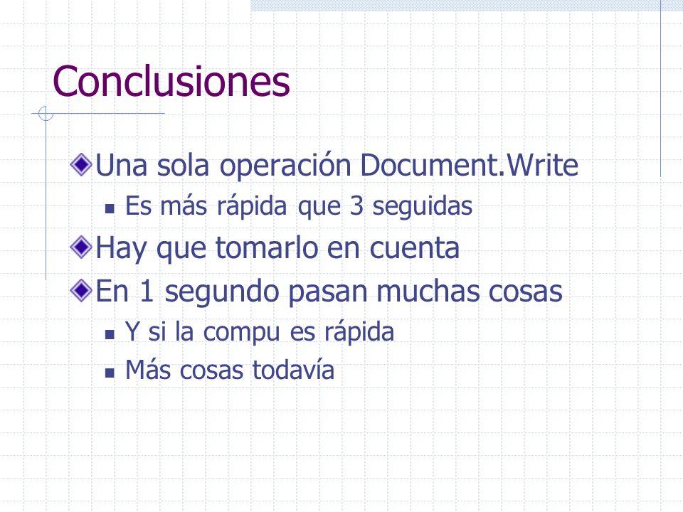 Conclusiones Una sola operación Document.Write Es más rápida que 3 seguidas Hay que tomarlo en cuenta En 1 segundo pasan muchas cosas Y si la compu es rápida Más cosas todavía