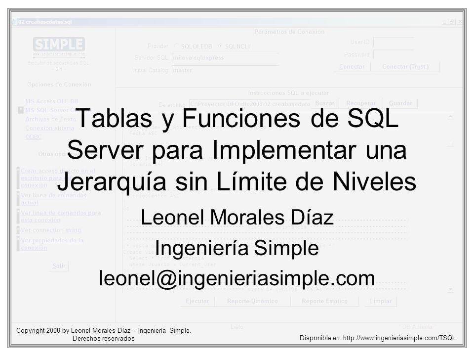 Tablas y Funciones de SQL Server para Implementar una Jerarquía sin Límite de Niveles Leonel Morales Díaz Ingeniería Simple leonel@ingenieriasimple.co