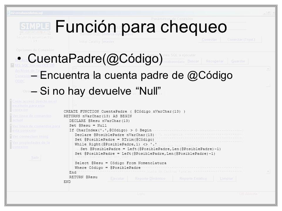 Función para chequeo CuentaPadre(@Código) –Encuentra la cuenta padre de @Código –Si no hay devuelve Null CREATE FUNCTION CuentaPadre ( @Código nVarCha