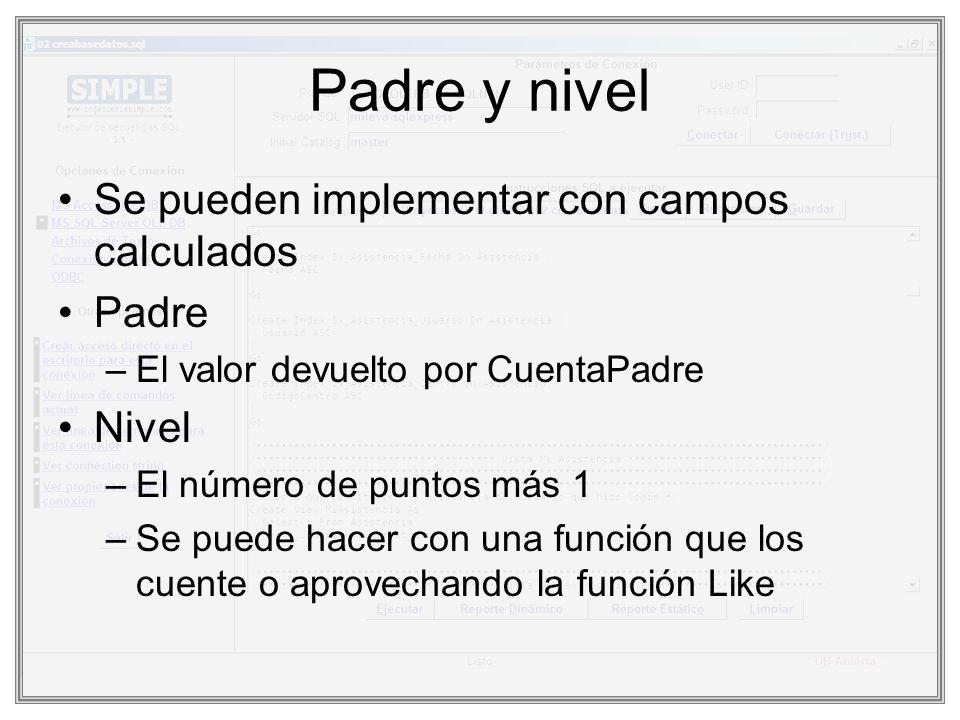 Padre y nivel Se pueden implementar con campos calculados Padre –El valor devuelto por CuentaPadre Nivel –El número de puntos más 1 –Se puede hacer co