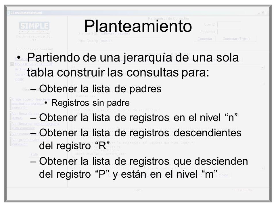 Planteamiento Partiendo de una jerarquía de una sola tabla construir las consultas para: –Obtener la lista de padres Registros sin padre –Obtener la l