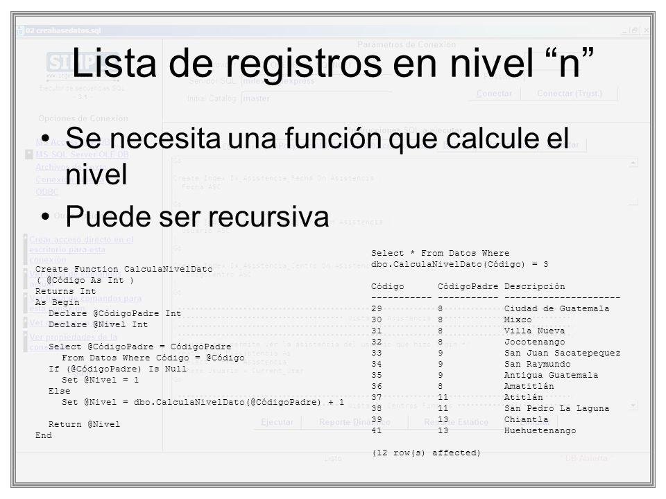 Lista de registros en nivel n Se necesita una función que calcule el nivel Puede ser recursiva Create Function CalculaNivelDato ( @Código As Int ) Ret