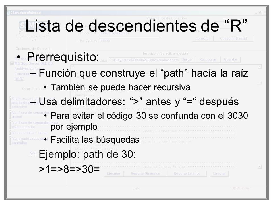 Lista de descendientes de R Prerrequisito: –Función que construye el path hacía la raíz También se puede hacer recursiva –Usa delimitadores: > antes y
